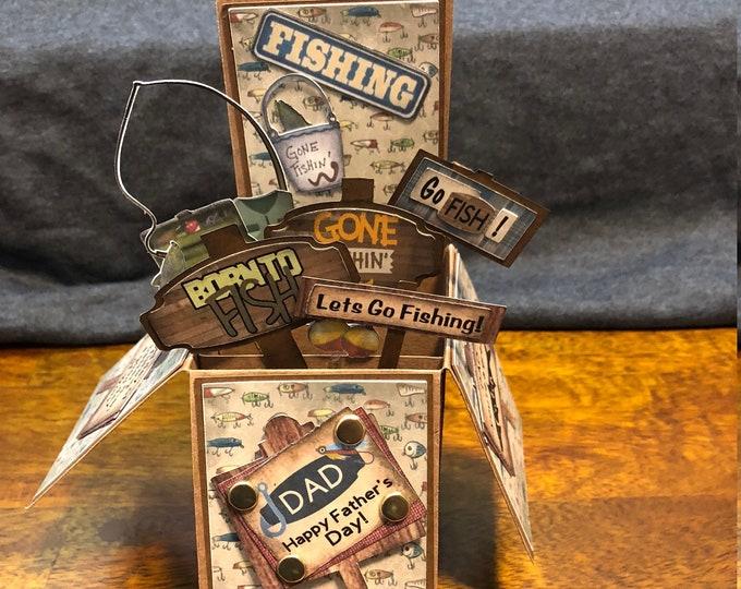 Featured listing image: Rustic 3-D pop up fisherman card!