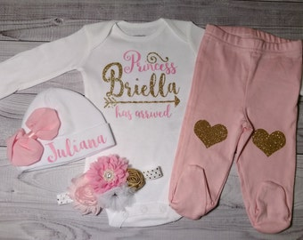 baby girl coming home outfit, newborn baby girl, take home outfit, the princess has arrived, name, outfit, hello world, newborn outfit, set
