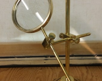 Vintage Brass Standing Magnifying Glass Lab/Research/Antique Style  **********1950's-1960's********