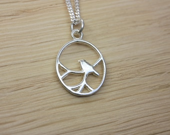 Silver Nightingale Bird Pendant Necklace, Sterling silver