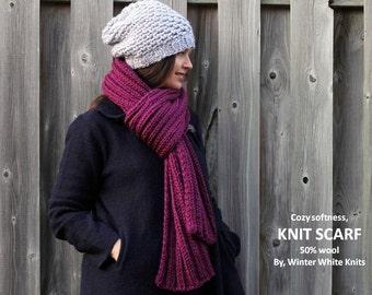LONG KNIT SCARF, Knit scarf, knit shawl, Chunky long knit scarf, Winter shawl, Knit winter scarf in berry, cozy soft, Blanket scarf