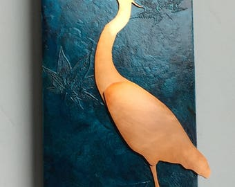 Heron Copper Art, 6x12 inches