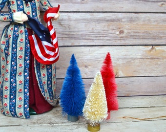 """4th of July Fourth Bottle Brush Christmas Trees Red White Blue table decor 4"""" Set of 3 Patriotic"""
