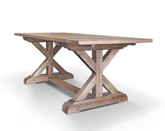 Farmhouse Table, Dining Table, Wood Table, Reclaimed Wood, Trestle Table, Extension Table, Handmade, Rustic