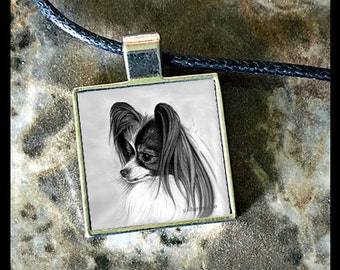 Papillon Dog in Square Pendant with Black Adjustable Cord