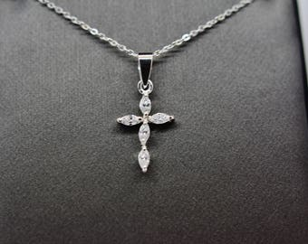 Sterling Silver Small CZ Cross Pendant Necklace