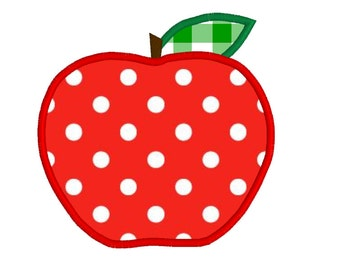 BUY 2, GET 1 FREE - Apple Applique Machine Embroidery Design - Back to School - 3 Sizes - 4x4, 5x7, 6x10