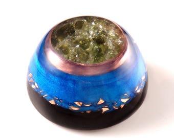 Moldavite Orgone Dome with Tanzanite, Fire Quartz, Phenacite & Petalite Crystals, Fluorite, Elite Shungite, Rhodizite, Selenite, Tourmaline