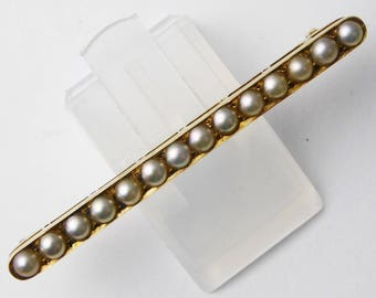 Antique Victorian 15ct Yellow Gold & Split Pearl Bar Brooch