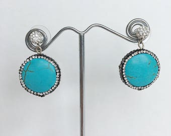 Turquoise and Sterling Silver CZ ball posts