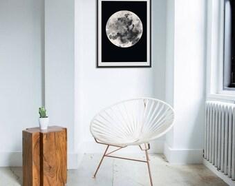 Moon Print. Moon Picture. Moon Art. Lunar Art. Lunar Painting. Monochrome. Boho Art. Green Lili