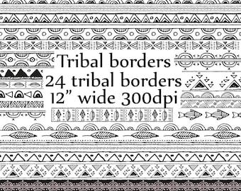 Clipart frontière tribale: «TRIBAL CLIP ART» Doodle Tribal aux frontières tribales Clipart bordure Clipart dessiné des frontières aztèque bordures graphiques Tribal