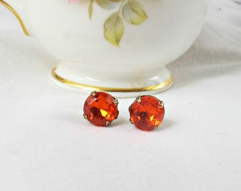 Orange Earrings Ear Studs Vintage Glass - Bridesmaid Round Glam It Up Jewellery Jewelry For Women - Sparkly Gift Teens Girls Birthday