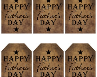 grungy tag set, primitive tags, craft supplies, scrapbooking, prim tags - Happy Fathers Day, black stars - digital PDF & jpeg - HFDGT01