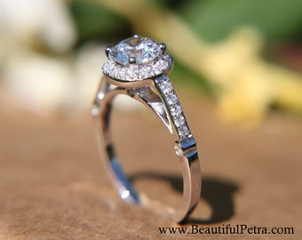 Diamond Engagement Ring  -14K white gold - 1.10 carat - Round - Halo - Pave - Antique Style - Bp029