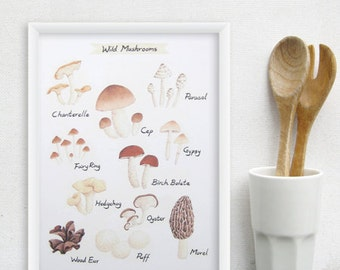 Wild Mushroom Kitchen Art - 8x11 Watercolor Culinary Mushroom Print - Food Poster / Kitchen Decor
