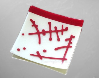 Red White Glass Platter Fused Glass Plate Abstract Hieroglyphs Serving Dish Sushi Organic Design HandmadeFused Glass