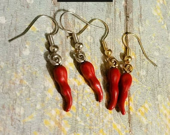 Red chili pepper earrings, hand painted Chile Pepper earrings