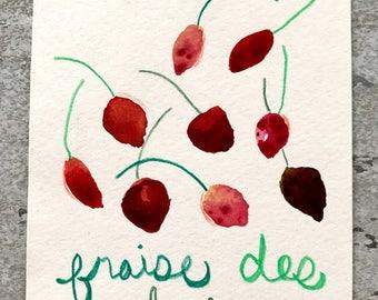 Original Watercolor of Fraise des bois- STRAWBERRIES!!