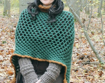 """""""The Hobbit County"""" crochet poncho, one size"""