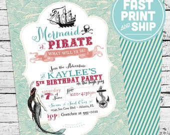 Printed Mermaid and Pirate Birthday Invitations and Envelopes