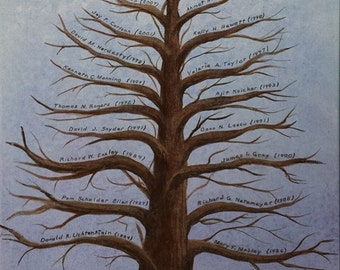 Family Tree sample fathers day mothers day original painting Graduation gift Wedding tree Family Reunion Tree of life Free Shipping CAST