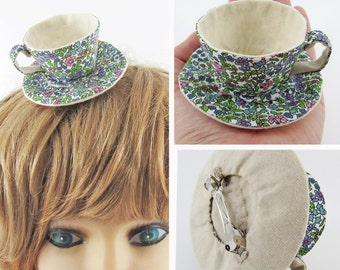 MADE-TO-ORDER ( 1 - 2 Weeks) Miniature Teacup Hair Slide-Liberty Blue Lavender Green Floral Allover