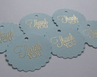 25 blue and gold favor tags, baby boy shower thank you tags, blue gold wedding tags, bridal  thank you tags, boy baptism favor tags
