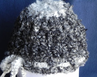 Fuzzy Black and White Newborn Hat Ready To Ship SALE