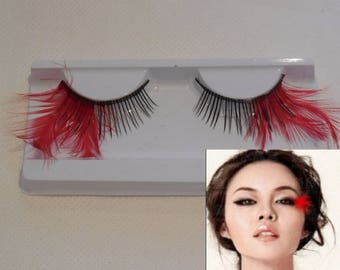 A pair of delicate red feathers false eyelashes Reusable red tails fancy eyelashes extension