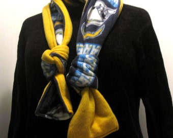 Handmade San Diego Chargers handmade  fleece scarf, gold, blue, football, warm and cozy.