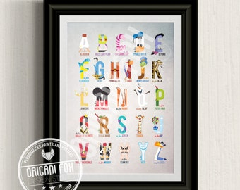 Disney Inspired Boys Alphabet Print - Nursery Print / Poster - Character & Typography Illustration
