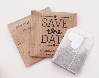 Save the Date Tea bags - Custom text and design available - Wedding favour tea bag - Guest Favor Save the date