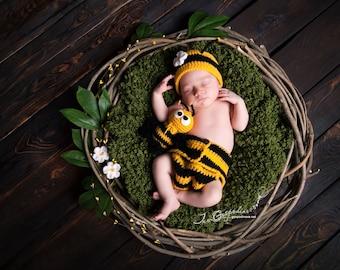 Bee prop Newborn prop Baby Prop Set Baby twins prop Bee Hat Newborn Prop Spring Prop Animal Prop Baby Girl Prop Hat and Diaper Cover Bee Toy