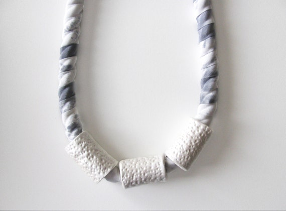 Silk Cylinder Necklace, Smoke