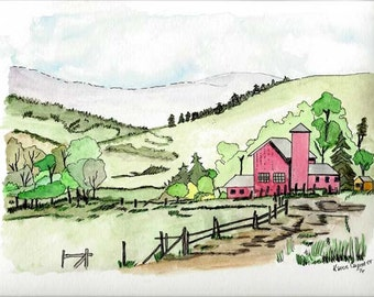 Original Pen, Ink and Watercolor Painting - Pastoral Scene of Red Barn, Silo, Green Hills and Valleys