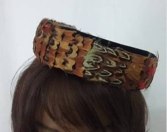 Vintage Feather Pillbox Hat Guinea Feathers and Velvet US shipping h262