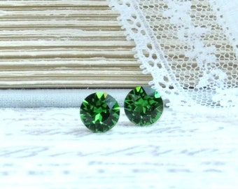 Green Stud Earrings Green Crystal Studs Solitaire Studs Swarovski Green Studs Surgical Steel