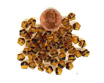 50 Vintage Glass Beads:  Tiny 7mm Textured Tortoise Flower Beads  Brown Flower Beads No.247G