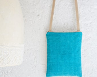 A small handmade fabric crossbody bag in turquoise raw silk, an elegant and unique bag, a perfect womens bag gift, an unique gift for her