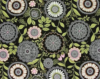 """OOP Rare AB19 Amy Butler Lotus Olive Lacework Floral Modern Quilting 18"""" BTHY Rowan Westminster Free Spirit Quilt Sewing Cotton Fabric Black"""
