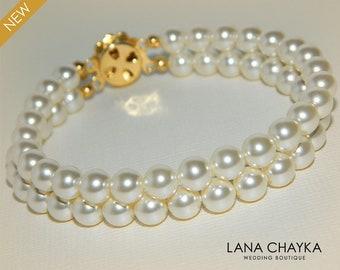 Pearl Cuff Bridal Bracelet Swarovski Cream Ivory Pearl Gold Bracelet Wedding Pearl Bracelet Two Strand Pearl Bracelet Bridal Pearl Jewelry