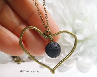 Perfume Diffuser Necklace, Antique Brass Heart Necklace, Essential Oil Diffuser Lava Necklace, Natural Stone Necklace, 'I Lava You' Necklace