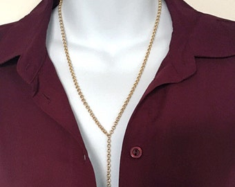 Gold Link Chain Lariat Nacklace