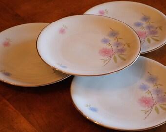 Zeh Scherzer Bavarian Porcelain Pattern 7042 Pink and Blue Floral China Set of Four Salad Plates
