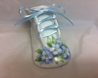 Baby Bootie Hand painted porcelain baby gift