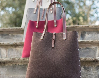 Tote Bag, Shopper Bag, Felt Tote Bag, Felt Shopper, Shoulder Bag, Wool Felt Bag, Felt Shoulder Bag, Carry All Bag