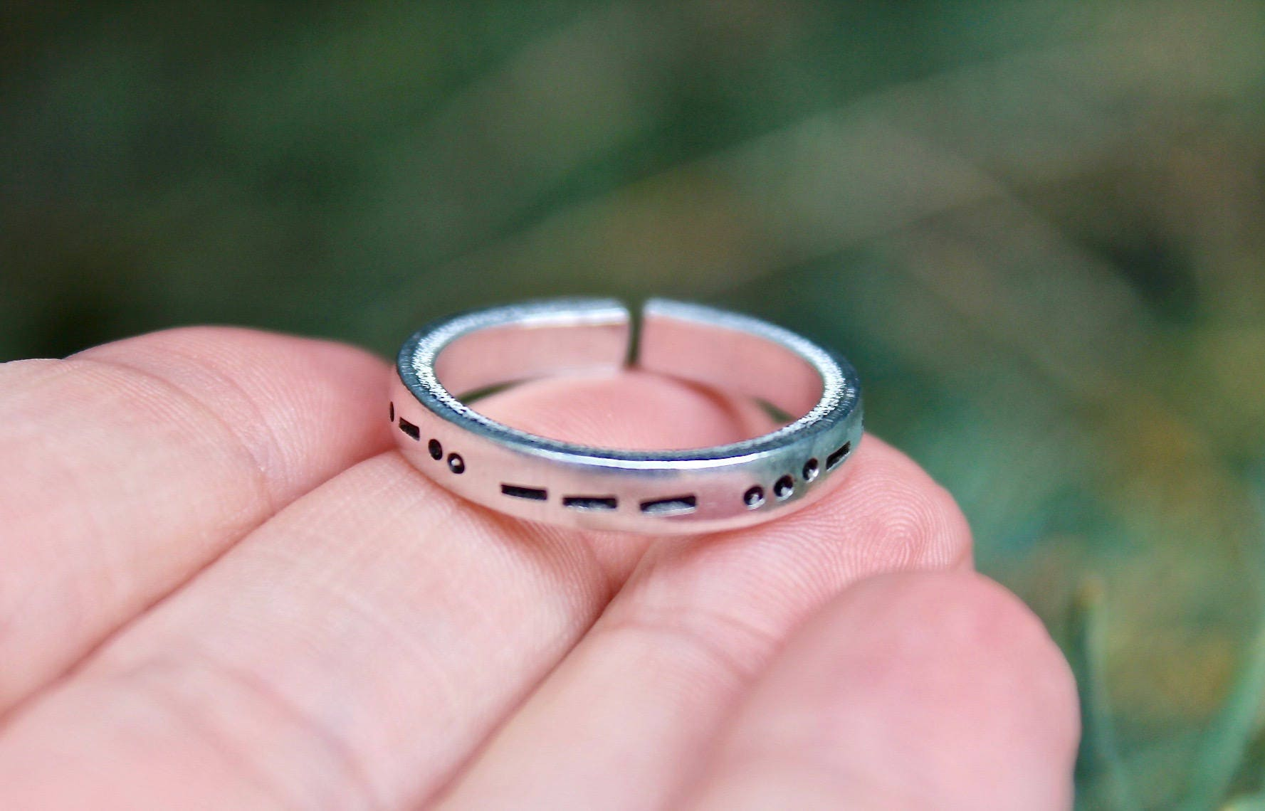 Morse Code Mantra Ring, Name in Morse Code, Morse Code Jewelry ...
