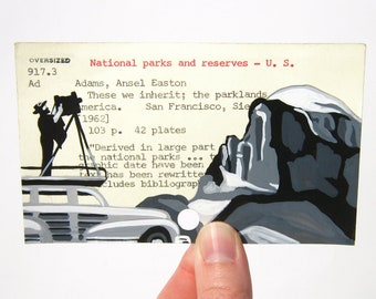 Print of Ansel Adams and Half Dome painted on Library Card - These We Inherit: The Parklands of America