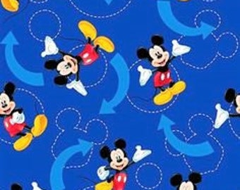 Mickey Mouse Fabric, Disney Fabric, Novelty Fabric, Quilting Fabric, Baby/Nursery/Craft Supplies/Diy, Fabric By Yard, Half Yard Fabric